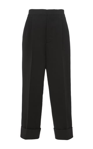 Medium marni black double face silk wool cropped trouser