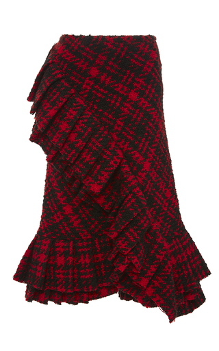 Medium marni red plaid wool ruffle skirt