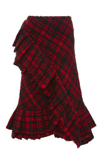 Medium marni red plaid wool ruffle skirt
