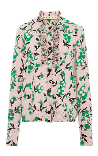 Medium marni floral sistowbell floral silk crepe blouse