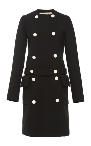 Medium marni black belted double face wool coat