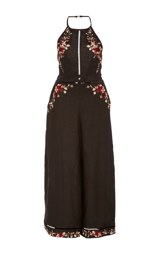 Floral Embroidered Halter Jumpsuit by ZIMMERMANN Now Available on Moda Operandi
