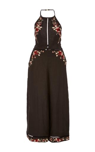 Medium zimmermann black floral embroidered halter jumpsuit