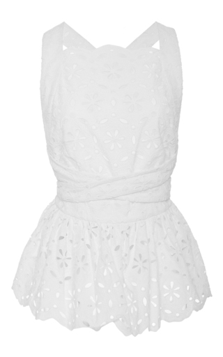 Medium zimmermann white roza broderie sleeveless bib top