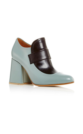 Medium marni light blue two toned moccasin heels