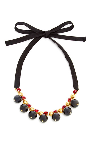 Medium marni black black strass embellished necklace
