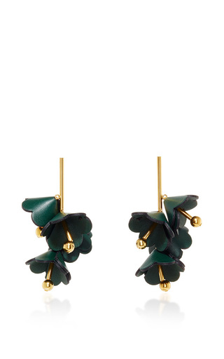 Medium marni green spherical leather earrings