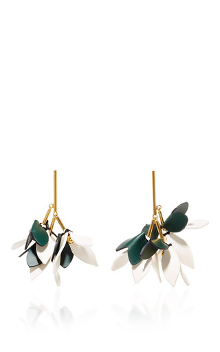 Medium marni green spherical green leather earrings