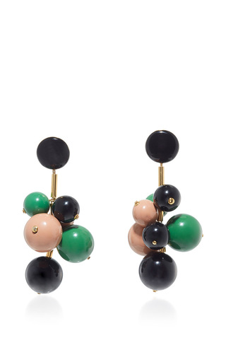Medium marni green emerald resin earrings