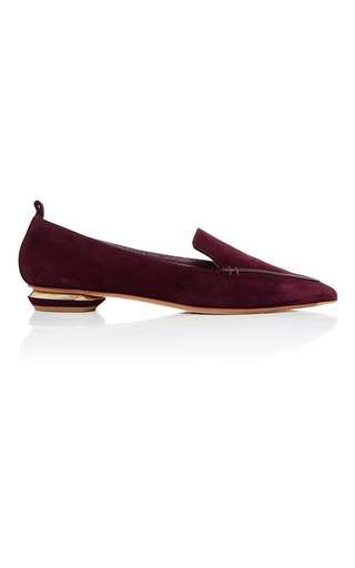 Medium nicholas kirkwood burgundy beya suede loafers  2