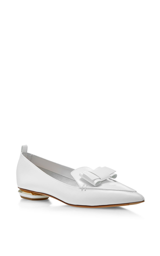 Medium nicholas kirkwood white beya bow loafers