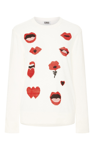 Medium sonia by sonia rykiel ivory jacquard lips hearts and flower sweater