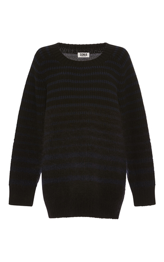 Medium sonia by sonia rykiel navy chunky stripes wool blend and mohair sweater