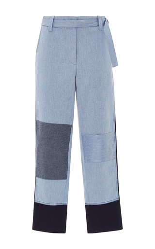 Medium tome blue denim patchwork skinny pant