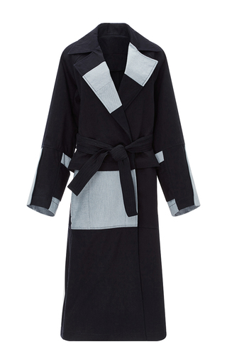Medium tome navy patchwork denim belted trench coat