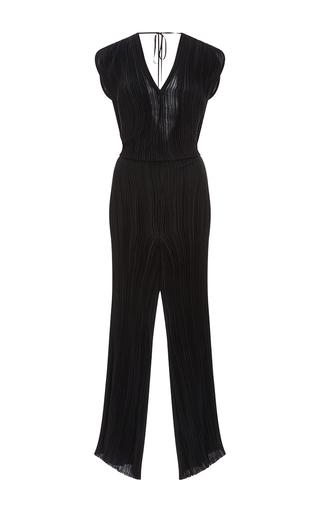 Medium tome black pleated v neck jumpsuit