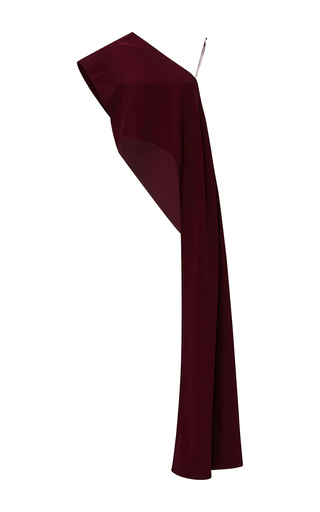 Medium tome burgundy one shoulder draped panel top