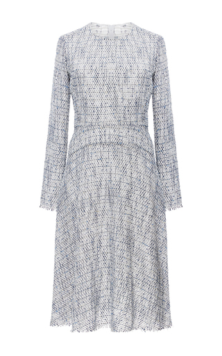 Medium tome blue long sleeve tweed flare dress