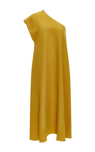 Medium tome yellow one shoulder tent dress