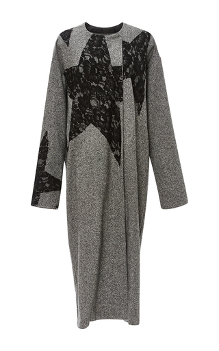 Medium tome light grey lace stars tweed draped coat