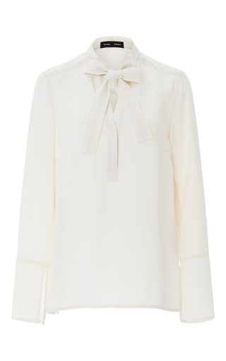 Medium proenza schouler ivory crepe neck tie blouse