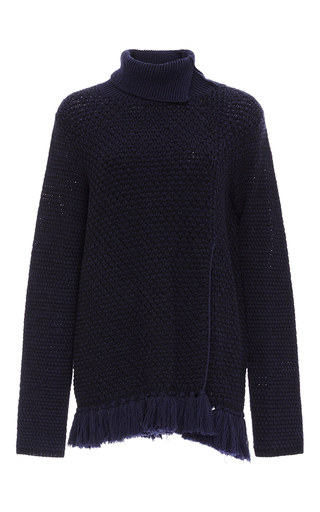 Medium proenza schouler navy tassel hem turtleneck sweater