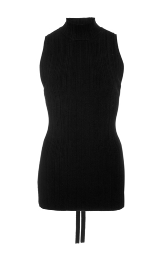 Medium proenza schouler black pleated knit turtleneck