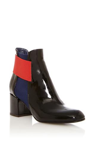 Medium pollini black patent leather bootie