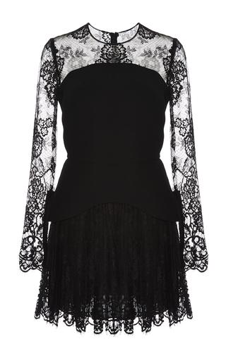 Medium elie saab black crepe cady and lace peplum dress