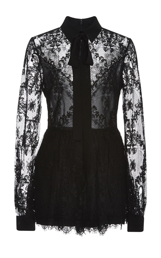 Medium elie saab black double georgette and lace romper