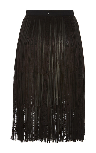 Medium elie saab black leather fringe and lace skirt