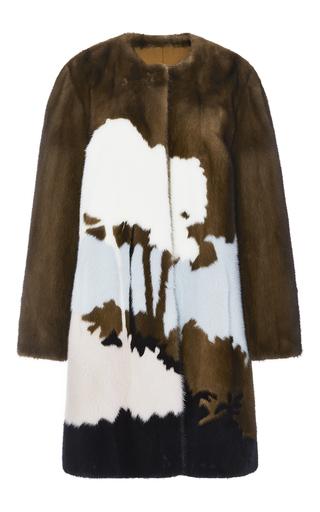 Medium elie saab black inlay mink fur coat