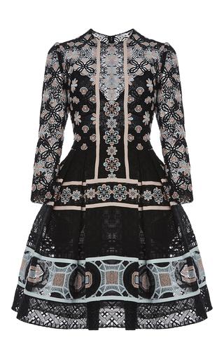 Medium elie saab multi striped flower macrame short dress