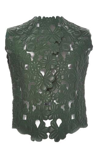 Medium elie saab green embroidered leather vest