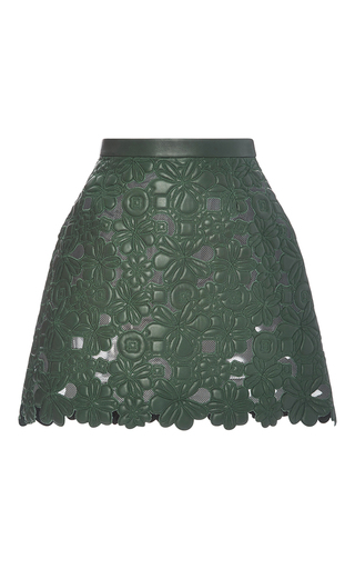 Medium elie saab green bottle embroidered leather a line skirt