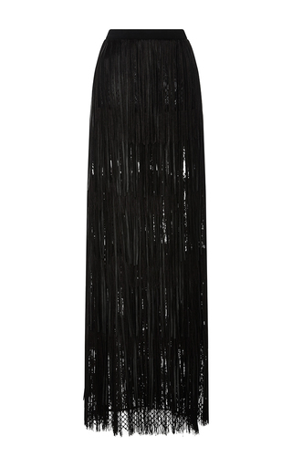 Medium elie saab black leather fringed maxi skirt
