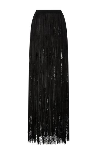 Medium elie saab black leather fringed maxi skirt