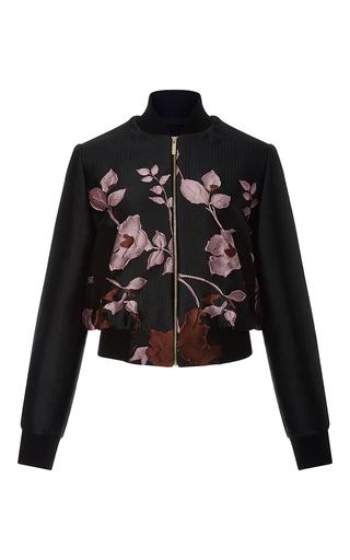 Medium elie saab black flower jacquard bomber jacket