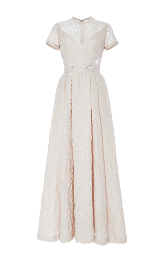 Medium elie saab blue organza jacquard and lace short sleeve dress