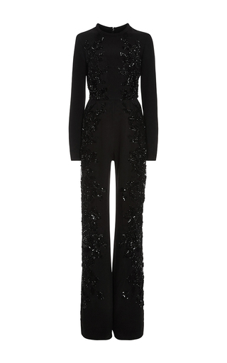 Embroidered Long Sleeve Jumpsuit by ELIE SAAB Now Available on Moda Operandi