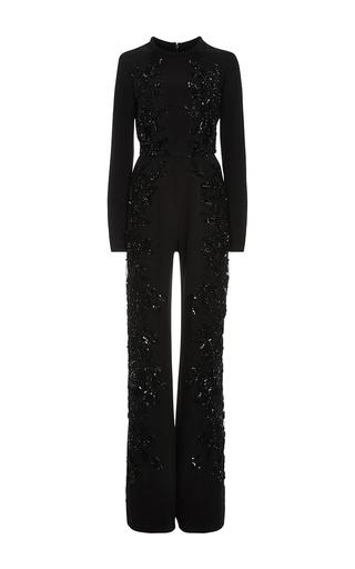 Medium elie saab black embroidered long sleeve jumpsuit