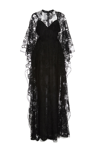 Medium elie saab black embroidered tulle and double georgette long dress