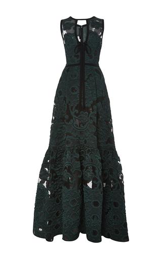Medium elie saab green fil coupe jacquard v neck gown