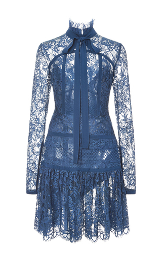 Medium elie saab navy double georgette and lace long sleeve dress