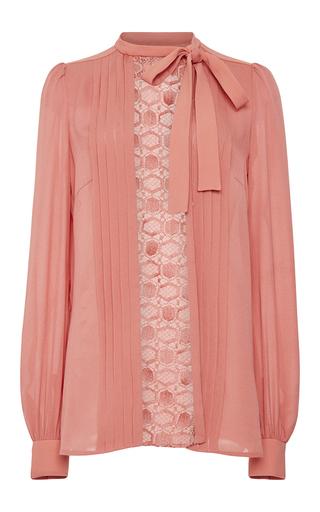 Medium elie saab pink crepe cady and lace long sleeve shirt