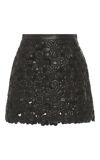 Medium elie saab black black embroidered leather a line skirt