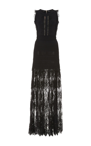 Medium elie saab black knit and lace long dress