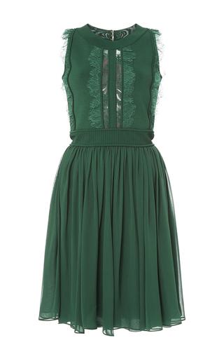 Medium elie saab green knit and crepe georgette short dress