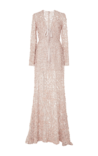 Medium elie saab light pink foliage embroidered v neck gown