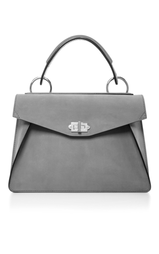 Medium proenza schouler light grey hava suede top handle bag